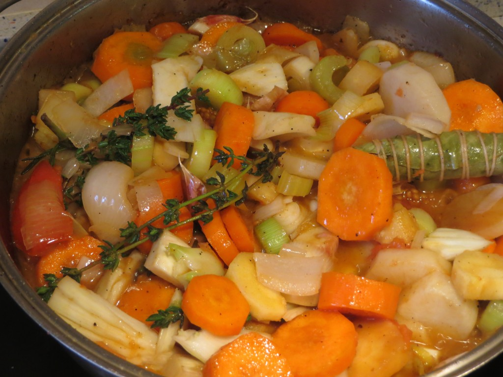 pochado de las verduras