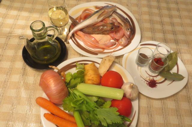 Ingredientes del fumet de pescado