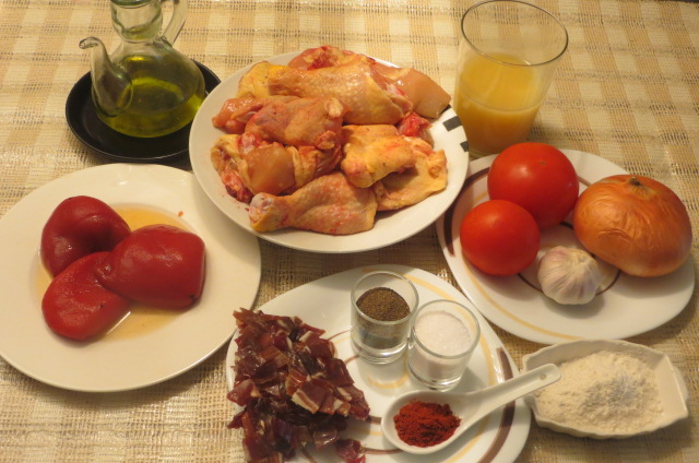Ingredientes de pollo al chilindrón