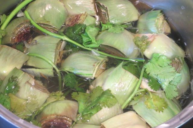 cocción de las alcachofas