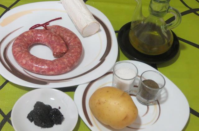 ingredientes montadito de longaniza, patata y queso de cabra