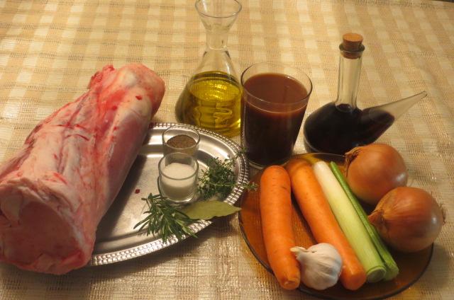 ingredientes jarrete de ternera asado al vino