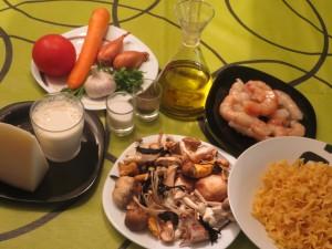 ingredientes pasta tagliata con gambas, setas y salsa de queso