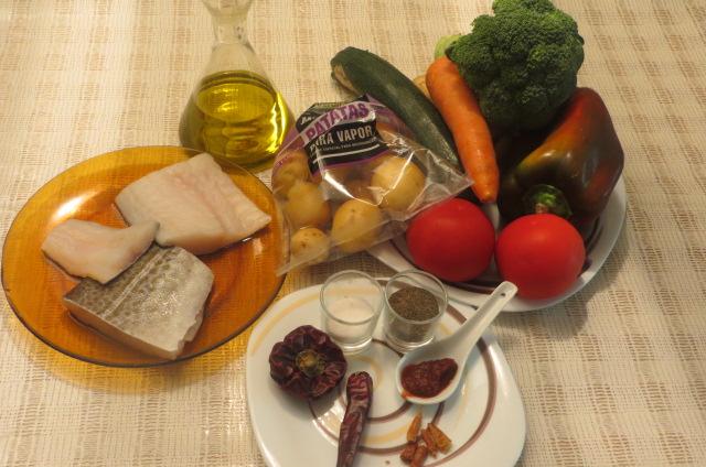 ingredientes bacalao con verduras
