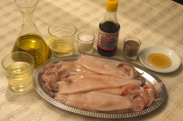 ingredientes de la cazuela de calamares