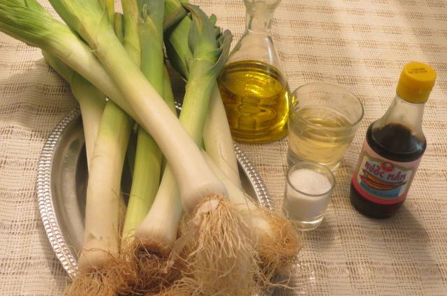 ingredientes de puerros con salsa