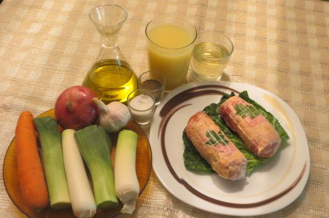 ingredientes para realizar los rollitos de pollo rellenos
