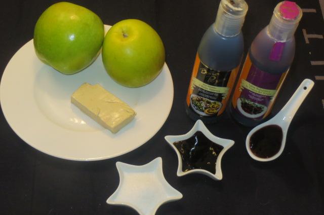 ingredientes de los montaditos de manzana ácida y paté de oca