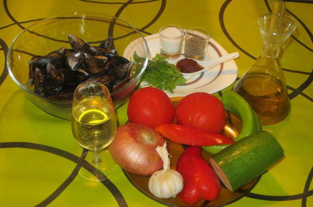 ingredientes de los mejillones a la marinera