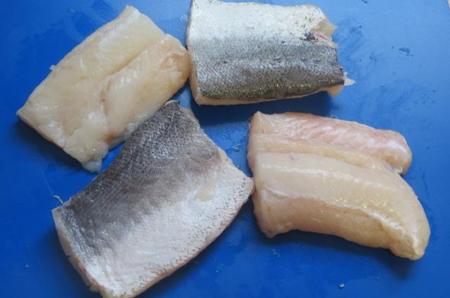 lomos de merluza cortados