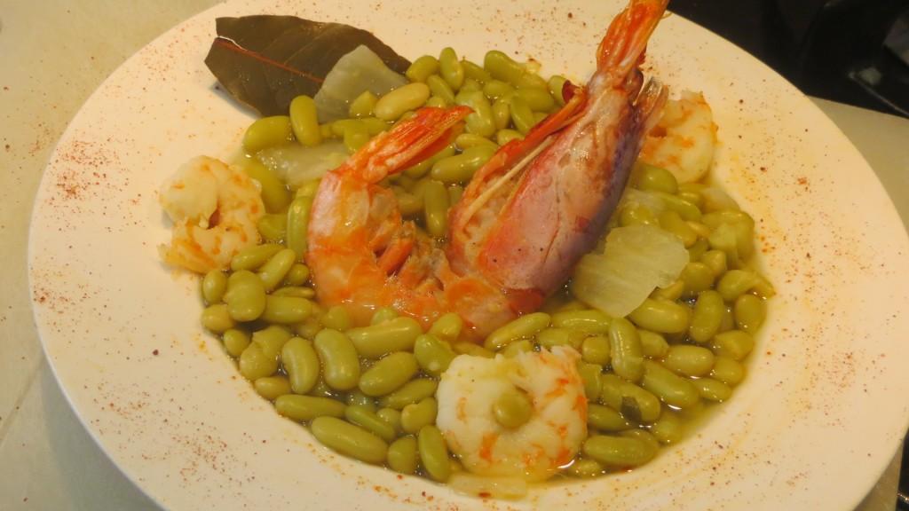 fabes verdinas con langostinos y gambón