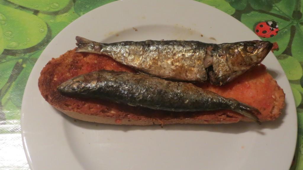 sardinas sobre pan con tomate