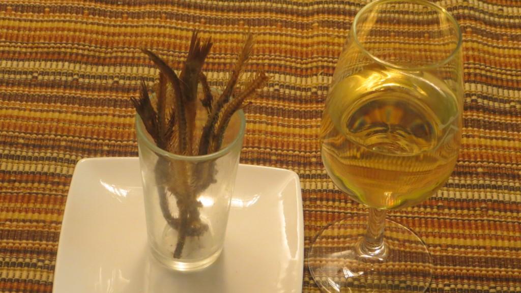 espinas de anchoas fritas