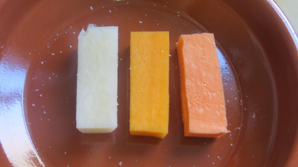 barras de patata, moniato y calabaza