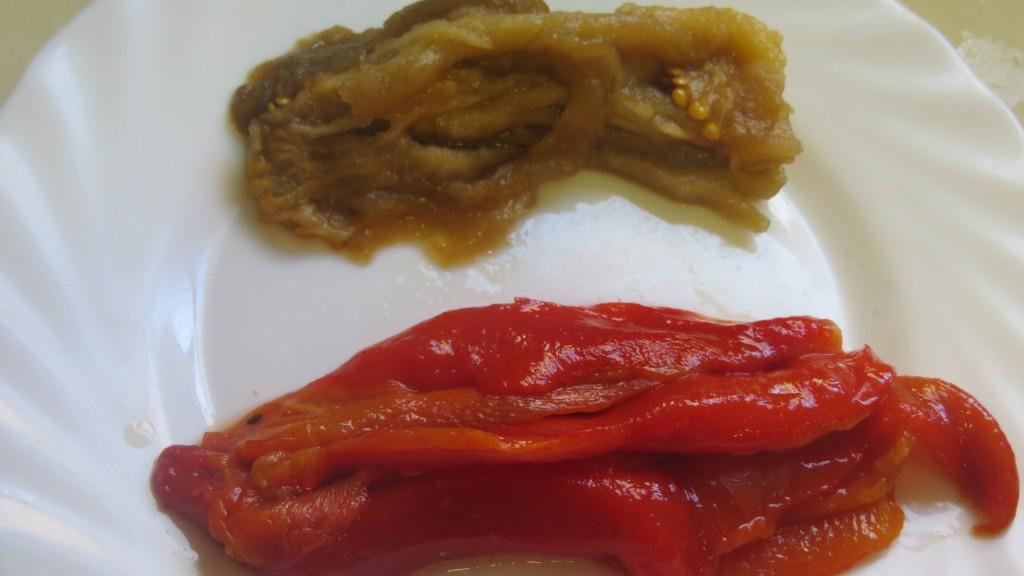 berenjena y pimiento rojo escalibados