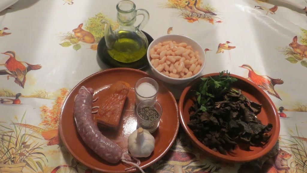 ingredientes judías blancas con trompetas de los muertos