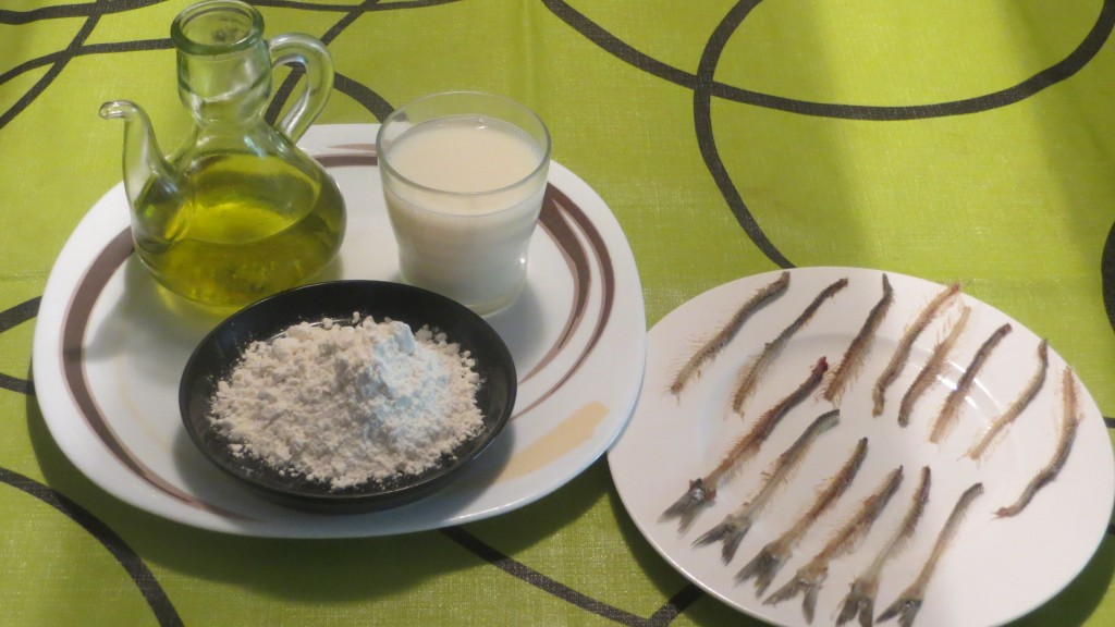 ingredientes de espinas de anchoas fritas