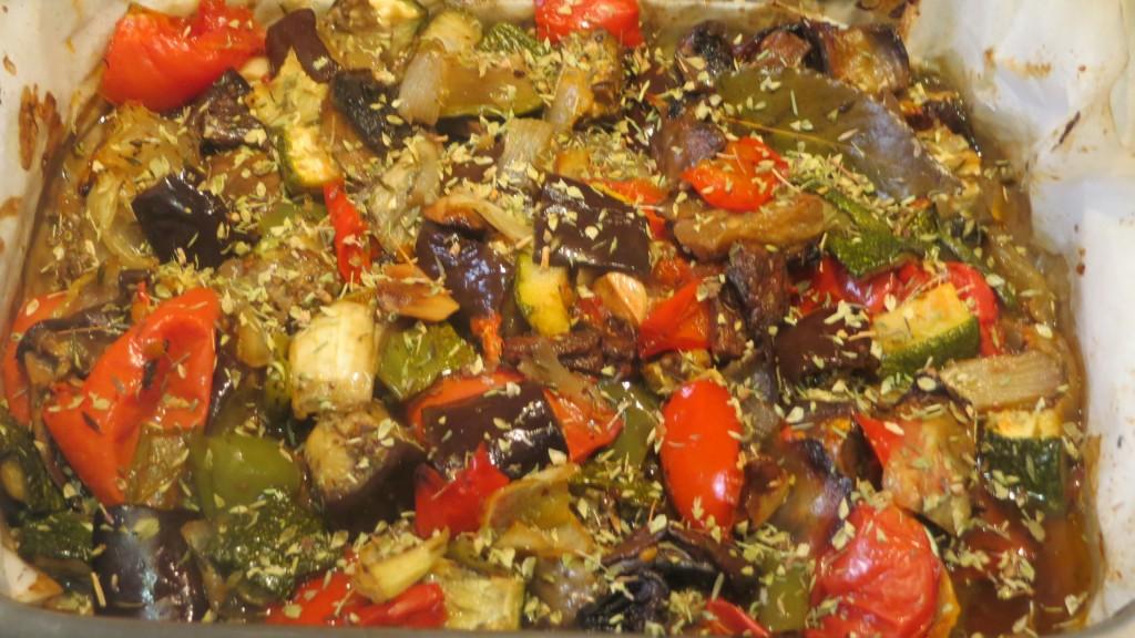 verduras asadas con tomillo y orégano