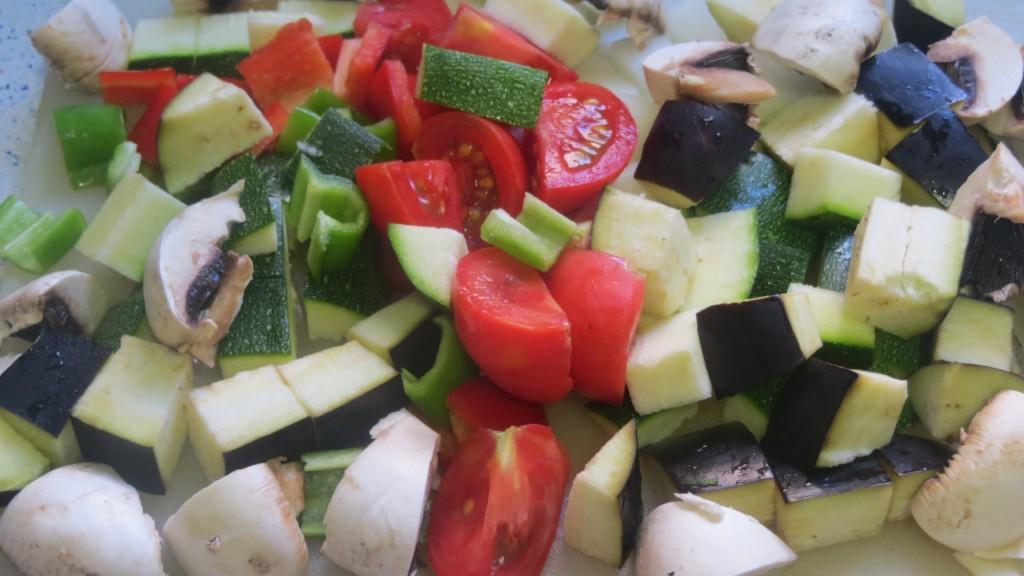 verduras lavadas y cortadas