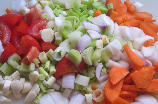 verduras cortadas listas para saltear