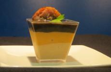 vasito tricolor de cremas de setas con butifarra
