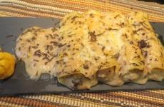 canelones de carne de aves con velouté de castañas