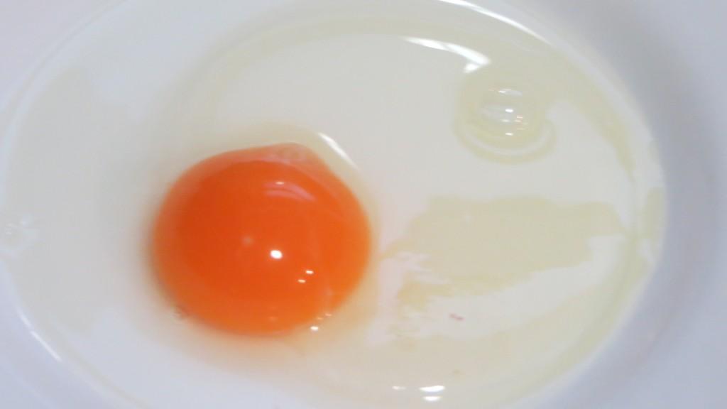 huevo entero en un plato hondo