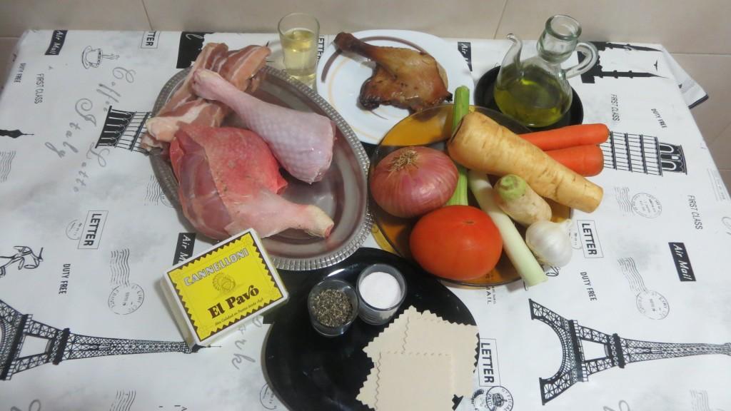 ingredientes de canelones de carnes de ave