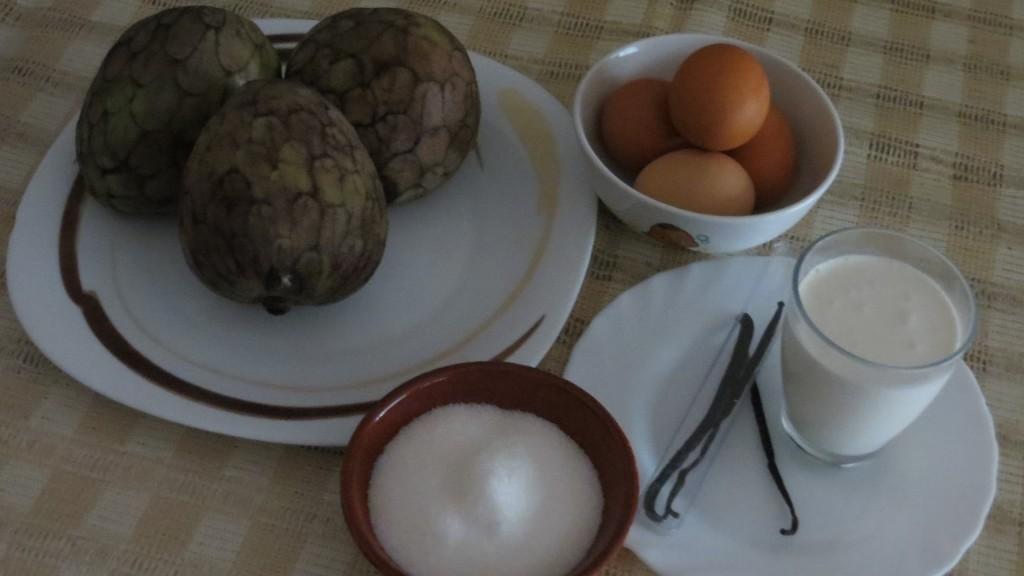 ingredientes flan de chirimoya