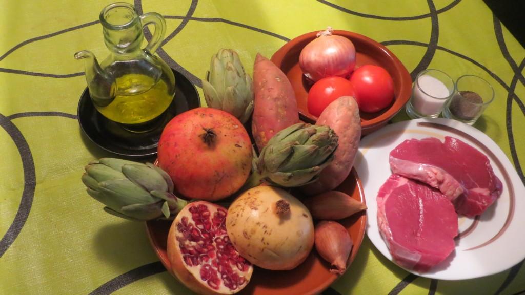 ingredientes de solomillo con salsa de granadas