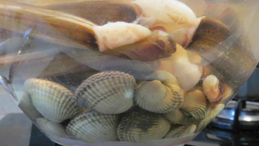 moluscos en el bol con agua salada y vinagre