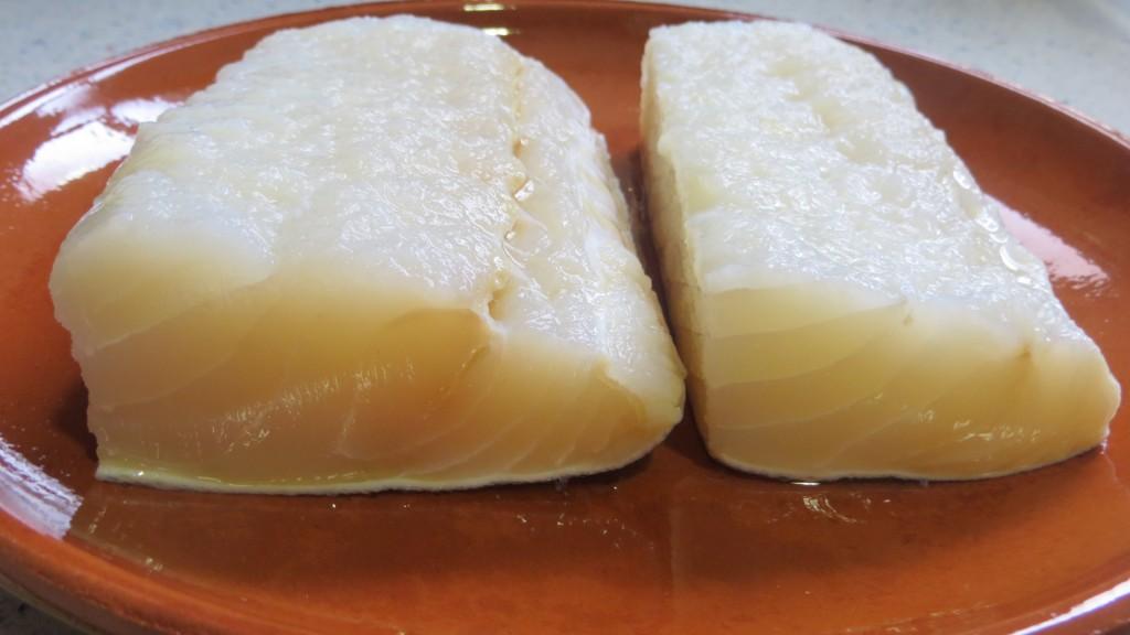 trozos de lomo de bacalao hidratados y desalados