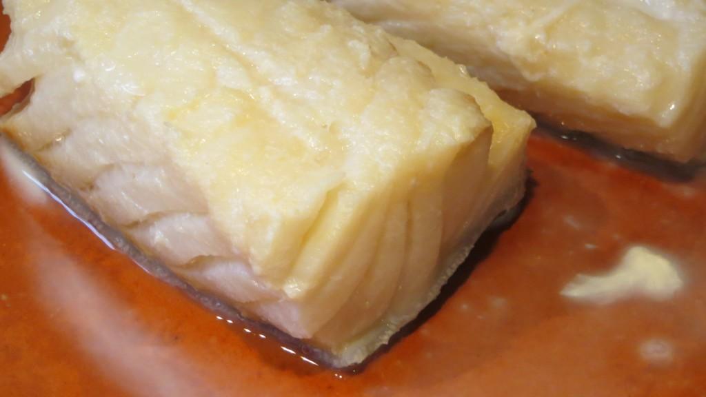 trozos de lomo de bacalao acabados de cocer