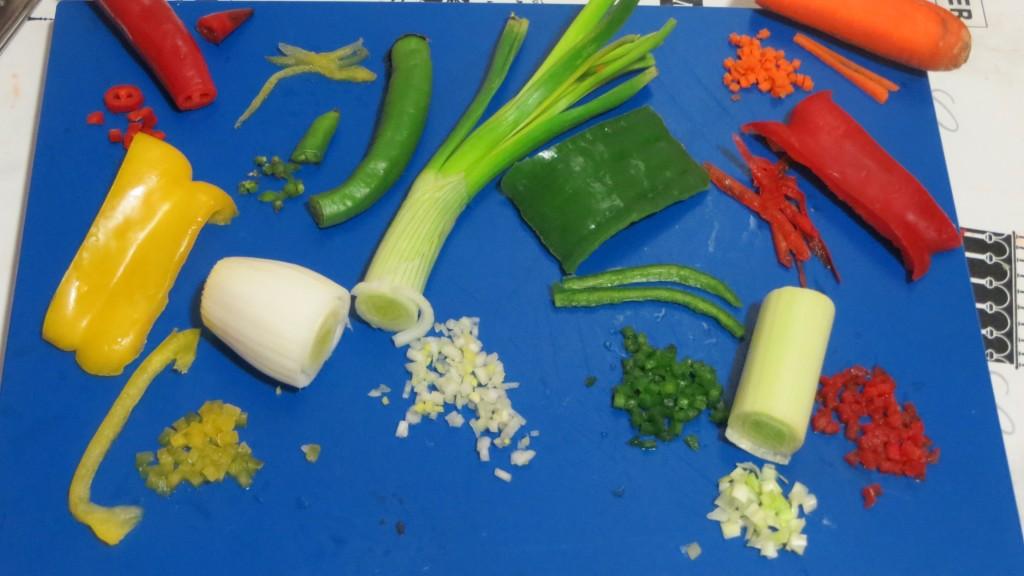 verduras cortadas en cuadraditos pequeños