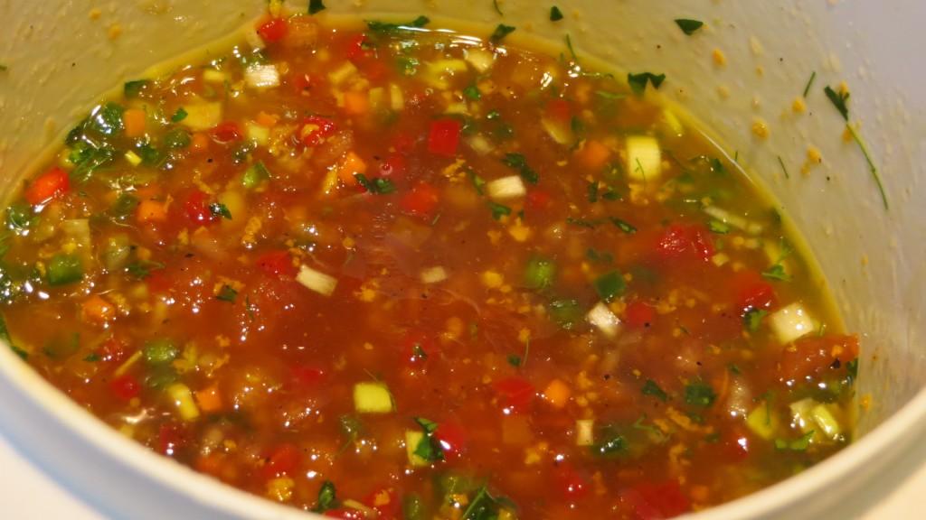 vinagreta de verduras y aromas de cítricos a punto de acabar