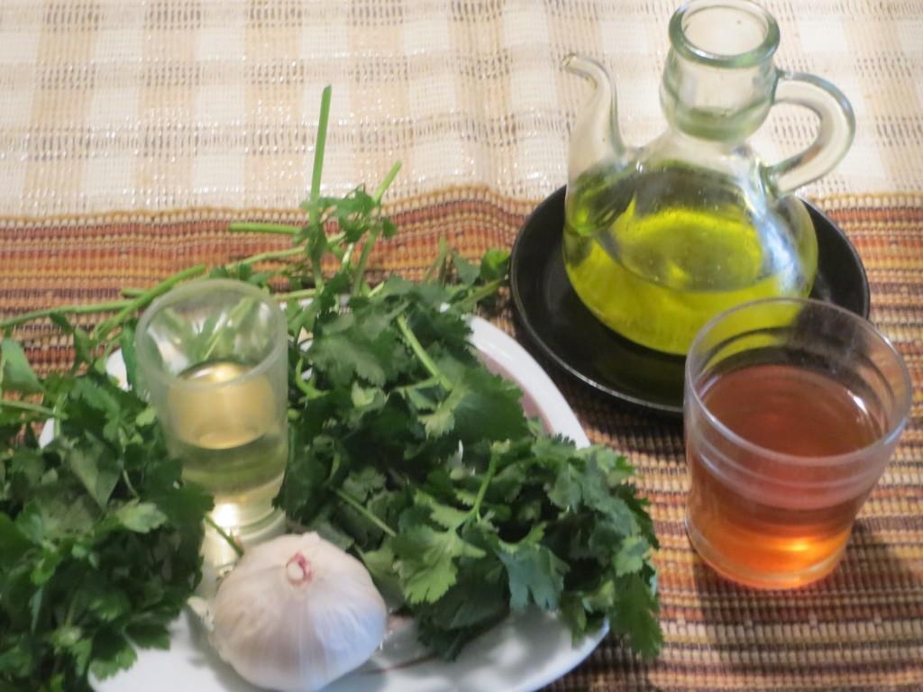 ingredientes mojo verde de cilantro