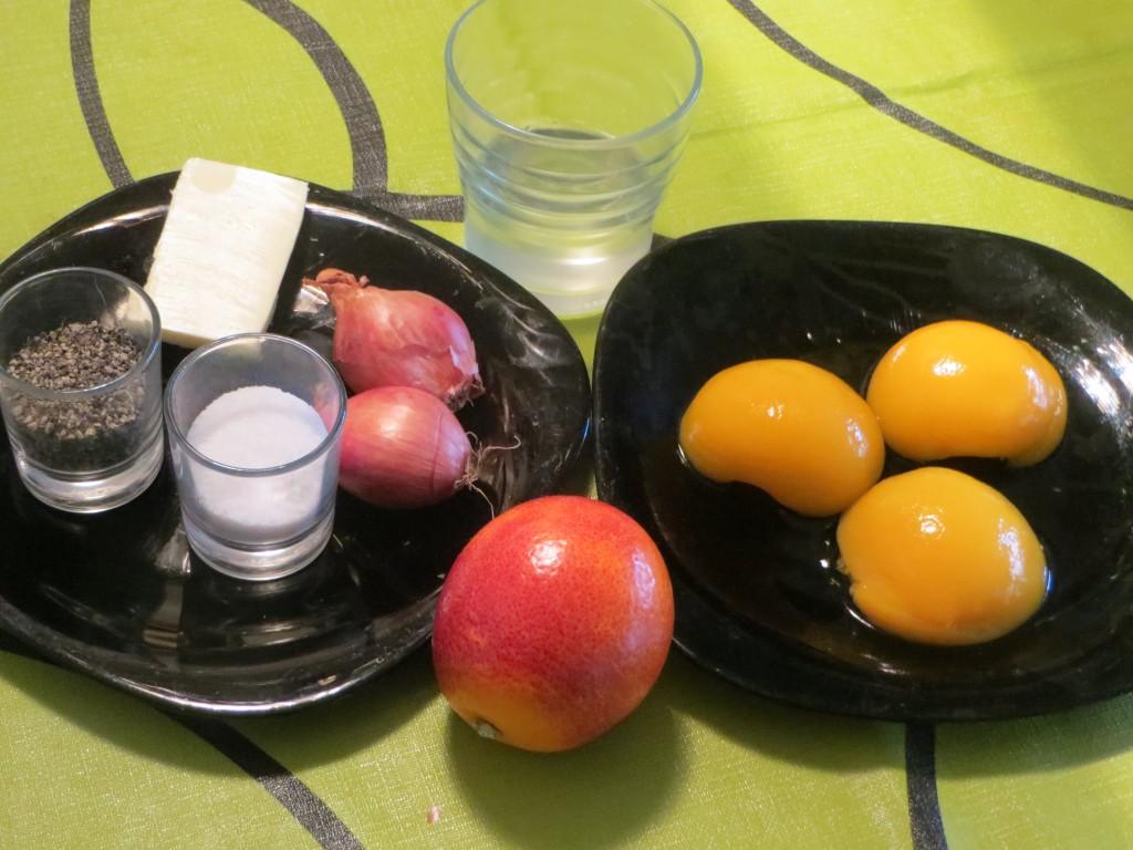 ingredientes salsa de melocotón y naranja sanguina