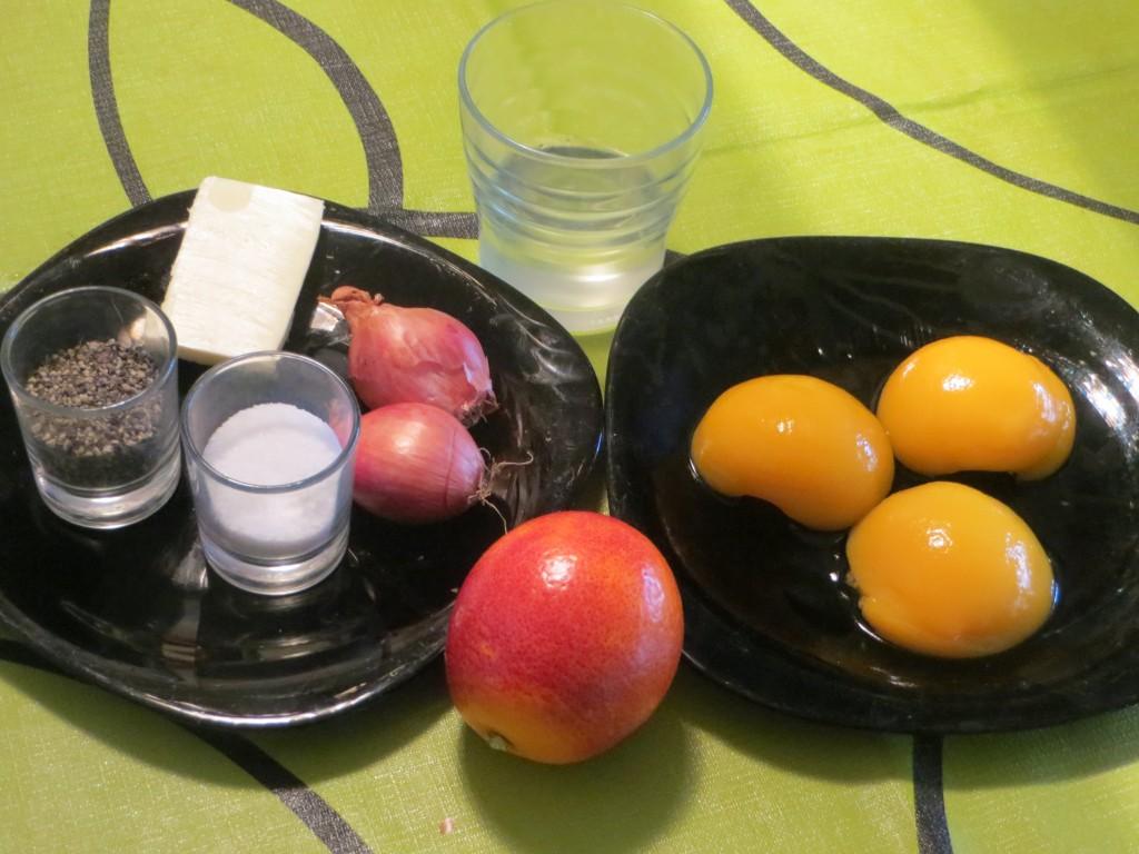 ingredientes salsa de melocotón con naranja sanguina