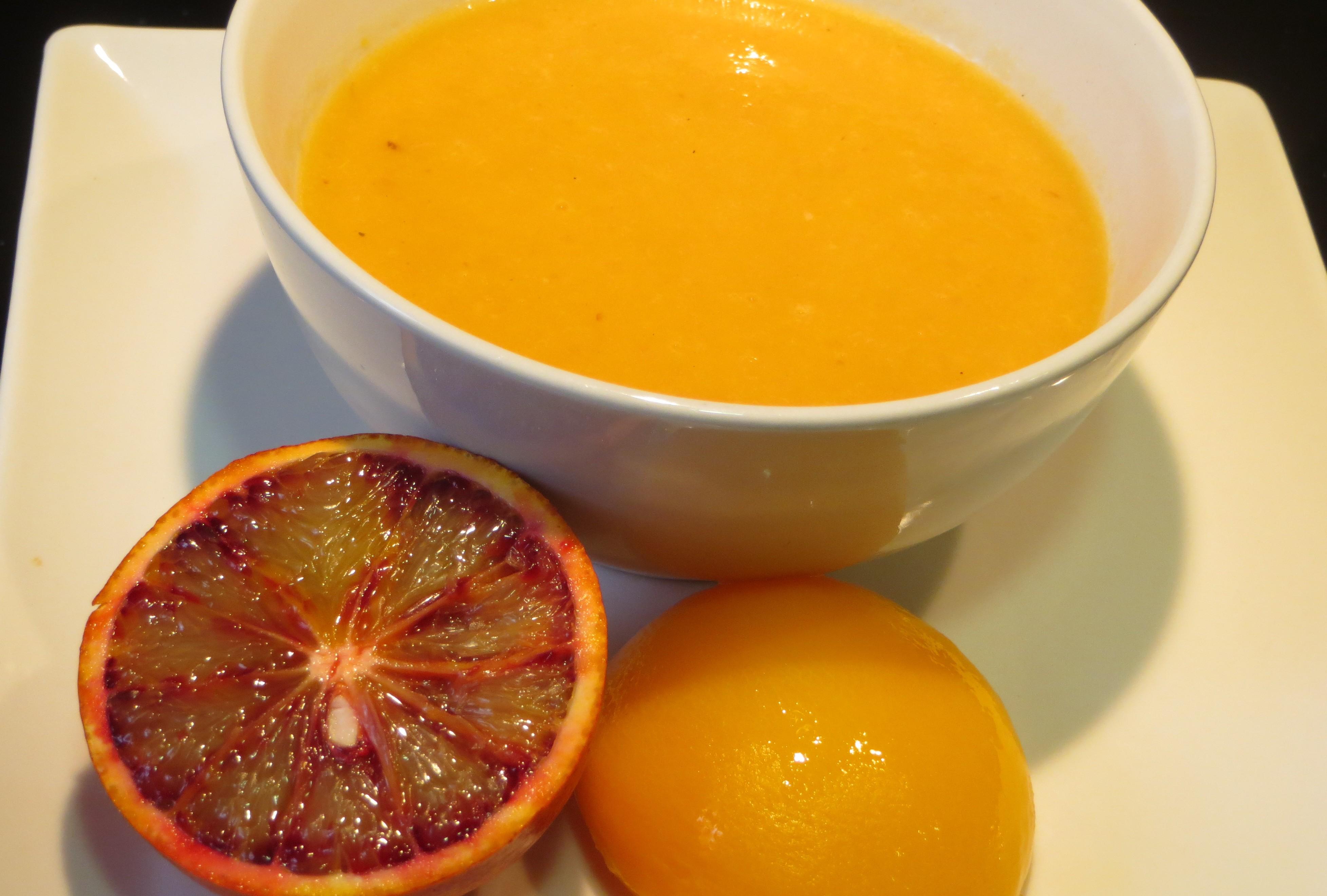 salsa de melocotón y naranja sanguina