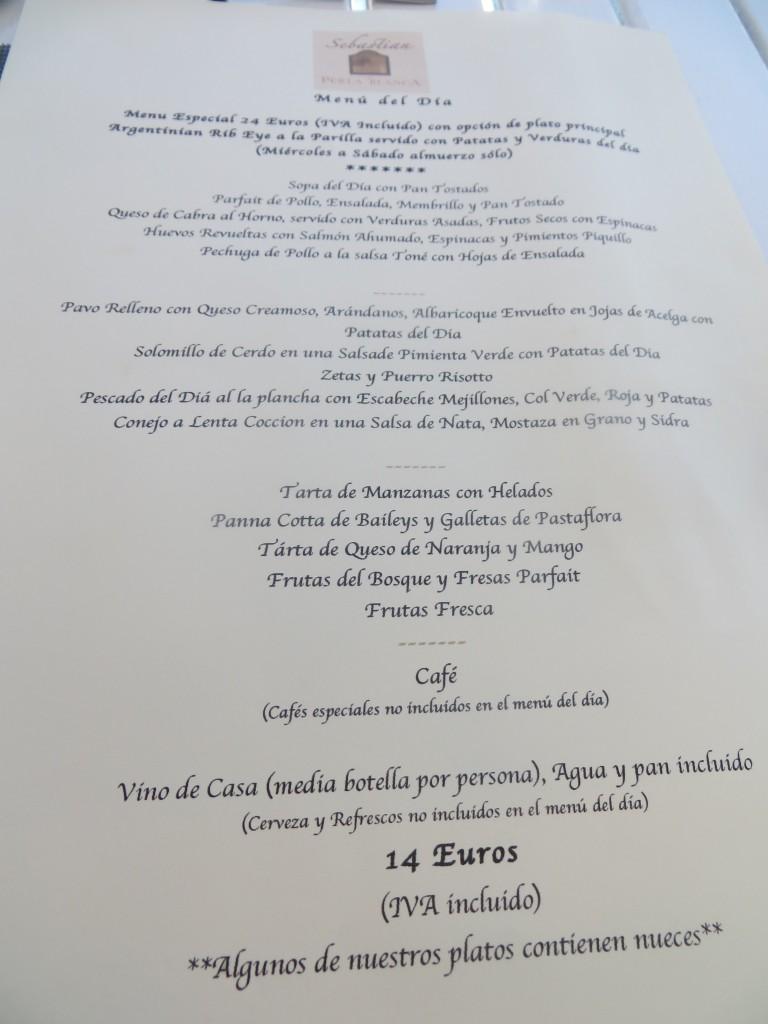 Carta. Menú del día Restaurante Sebastian en Perla Blanca