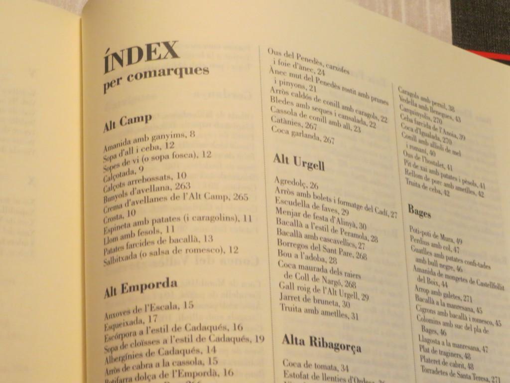 índex per comarques del llibre 501 receptes catalanes