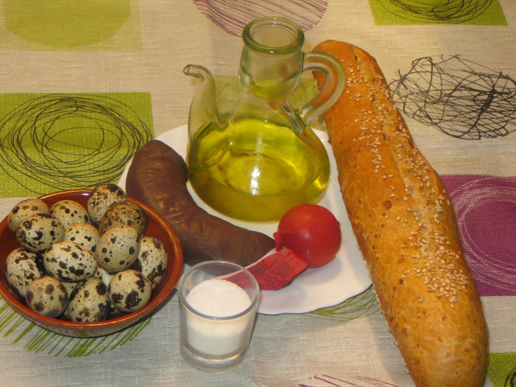 ingredientes del pincho de morcilla de cebolla con huevo de codorniz