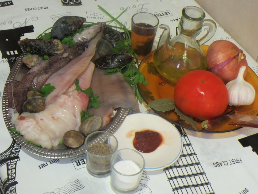 ingredientes cazuela de pescados y mariscos