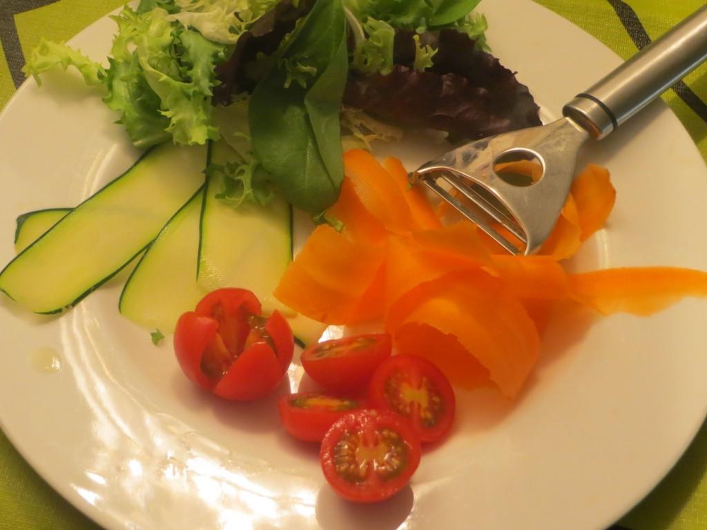verduras de la ensalada caprichosa cortadas
