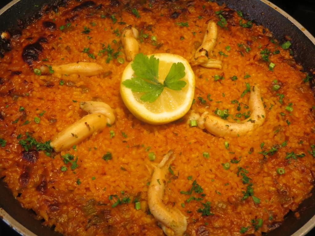 arroz con espardeñas fuera del horno