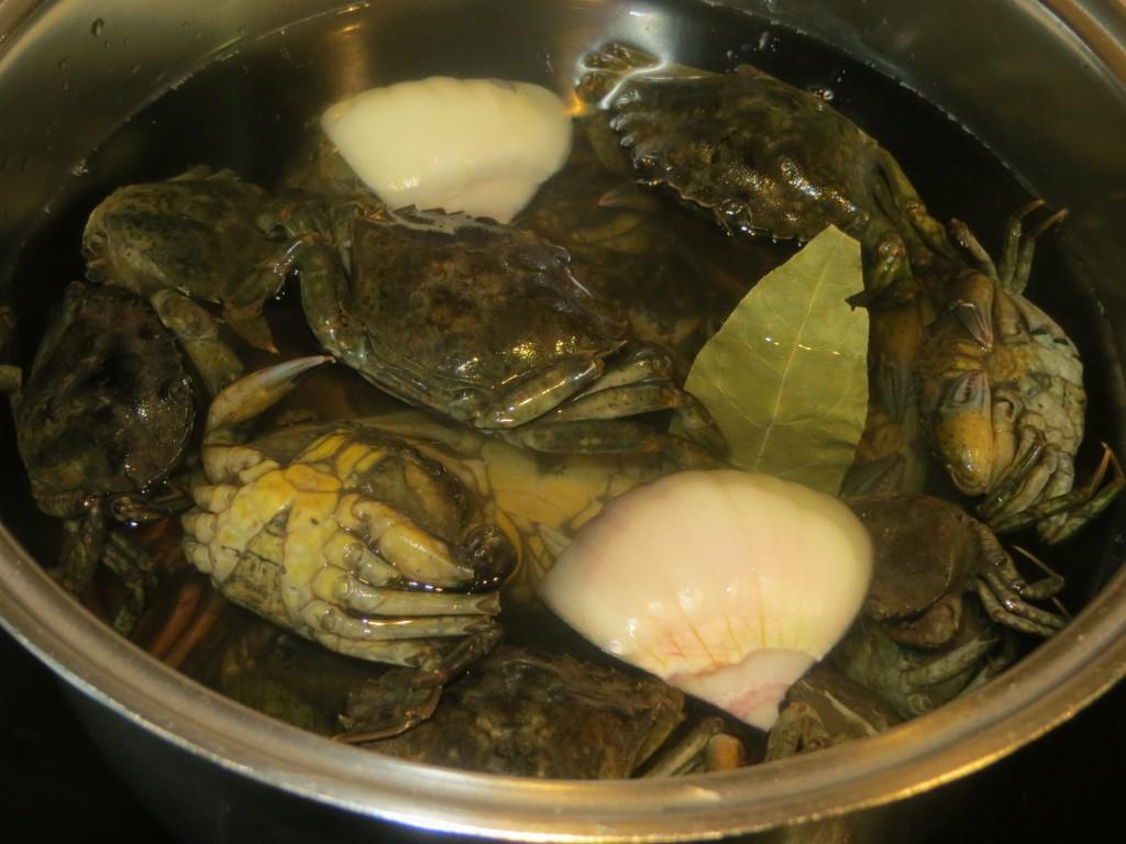cocción de los cangrejos de mar