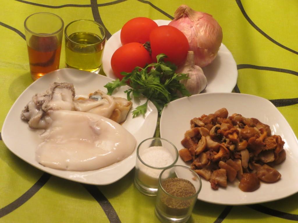 ingredientes de la sepia con setas