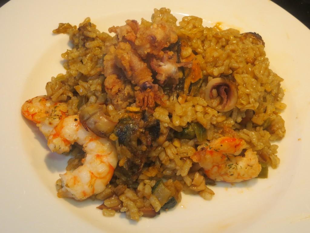arroz con mariscos en conserva