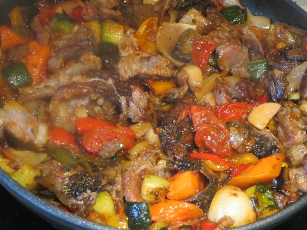 carnes y verduras acabadas de dorar
