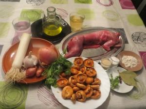 ingredientes conejo de monte con níscalos